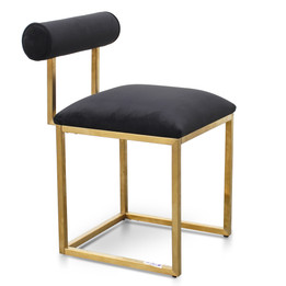 CDC2621-BS Dining Chair In Black Velvet - Brushed Gold Base (cf)