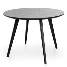CDT2305-SD 100cm Round Dining Table - Black Veneer Top - Black Legs (cf)