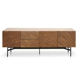 Cliff 180cm Wooden Sideboard Unit In Walnut - Black Legs (cf)