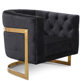 CLC2324-BS Armchair in Black Velvet - Brushed Gold Base (cf)