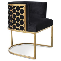 CLC2612-BS Lounge Chair In Black Velvet Seat - Brushed Gold (cf)