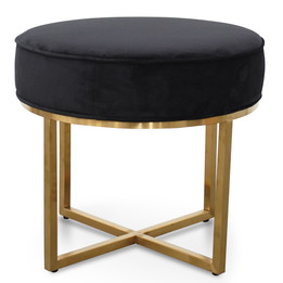 CLC2617-BS Steel Frame Ottoman In Black Velvet Seat - Brushed Gold... (cf)