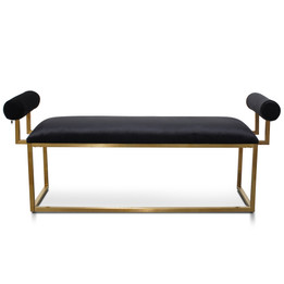 CLC2620-BS Bench In Black Velvet - Brushed Gold Base (cf)