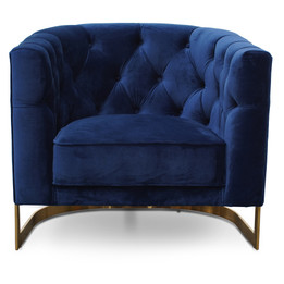 CLC2623-BS Armchair in Blue Velvet - Brushed Gold Base (cf)