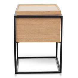 CST2203-IG Scandinavian Side Table In Oak - Black Frame (cf)