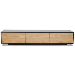 Letty 2.3m Wooden Entertainment Unit - Black with Natural Drawers (cf)