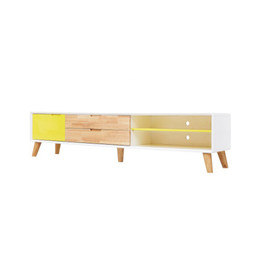 Scandinavian Low Line TV Entertainment unit - 2m - white - natural