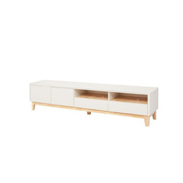 Scandinavian Low Line TV Entertainment unit - 2m - cream - natural