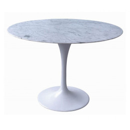 CDT112A Marble Dining Table 90cm - Aluminium (cf)