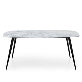 CDT1275-DW White 1.8m Marble Dining Table - Black Legs (cf)
