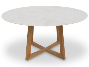 Zodiac 1.5m Round Marble Dining Table - Natural (cf)