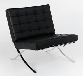 Replica Barcelona chair-black Italian leather with PU pipping & buttons