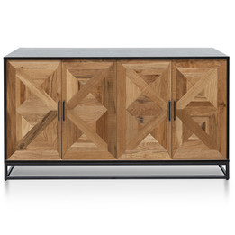 Percy 160cm Wide Sideboard - European Knotty Oak and Peppercorn (cf)