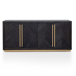 Wilma Wide 180cm Wooden Sideboard - Peppercorn and Brass (cf)