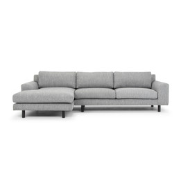 CLC2869-FA 3 Seater Left Chaise Sofa - Dark Grey with Black Legs (cf)