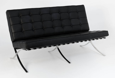 Replica Barcelona 2-seater-black Italian leather with PU pipping & buttons
