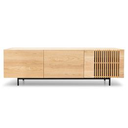 Onito 180cm Wooden Entertainment TV Unit - Natural with Black Legs (cf)