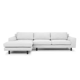CLC747 3 Seater Left Chaise Sofa - Light Texture Grey - Black legs (cf)
