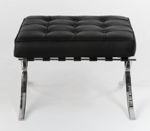 Replica Barcelona footstool-black Italian leather with leather piping