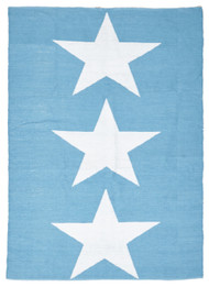 Coastal Indoor Out door Rug Star Turquoise White (ux)