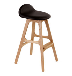 Erik Buch Leather Bar Stool 66cm - Replica - Natural Ash with Black Leather