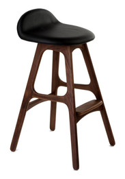 Erik Buch Leather Bar Stool 66cm - Replica - American Walnut with Black Leather