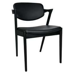 Kai #42 Replica Dining Chair - Black Leather and Black Timber