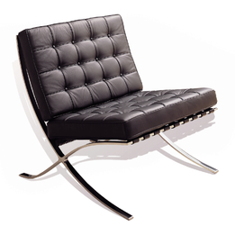Premium Replica Barcelona chair-full premium black aniline leather with Aniline LEATHER pipping & buttons