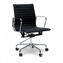 Replica Eames Group Standard Aluminium Office Chair #CF-035 Low-Back & Ribbed-Back Office Chair - Premium Italian Leather - various colours