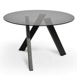 CDT2234-EI 1.2m Dining Table - Smoke Grey Glass - Black Base (cf)