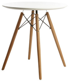 Replica Charles & Ray Eames DSW Dining Table-70cm-White Top/Walnut  legs