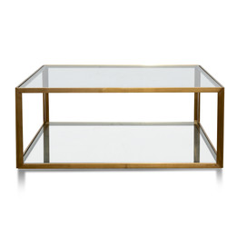 CCF2878-KS - 1M Glass Coffee Table - Gold Base (cf)