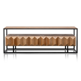 CTV2925-NI 1.8m Entertainment TV Unit - Natural with Black Frame (cf)