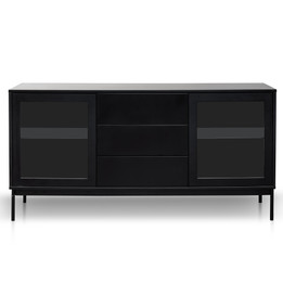 CDT2913-DW - 166cm Sideboard Unit - Black with Glass Door and Self (cf)