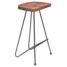 Alula Sheesham Bar Stool - Black 75cm