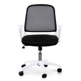 COC6190-LF Black Office Chair - White Arm and Base (cf)