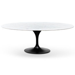 Oval 2m Marble Dining Table - Black Base (cf)