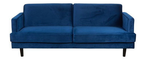 Charm City 3 Seater Velvet Sofa Blue