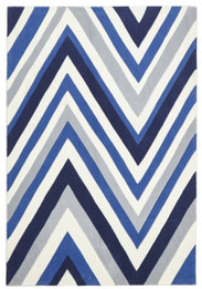 Multi Chevron Rug Navy Blue White (ux)