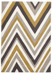 Multi Chevron Rug Yellow Brown (ux)