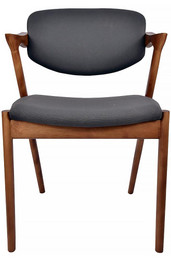 Kai #42 Replica Dining Chair - Black Fabric and Walnut Timber