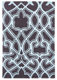 Gothic Tribal Design Rug Smoke Grey and Blue (ux)