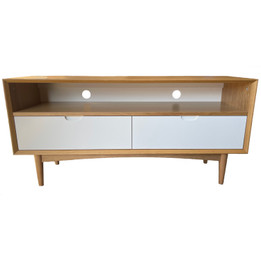 Ex Display - Stockholm 2 Drawer Entertainment Unit White Drawers Oak Base - CLEARANCE