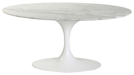 Replica Tulip Coffee Table -  White or Black Marble - Oval 120cm