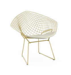 Replica Harry Bertoia Diamond Chair - Gold + Back Cushion - various colour cushions