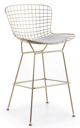 Replica Harry Bertoia Wire Bar Stool - 61cm - Gold Chrome - various colour cushions