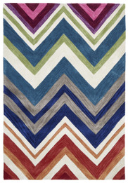 Abrash Chevron Rug Multi Coloured (ux)