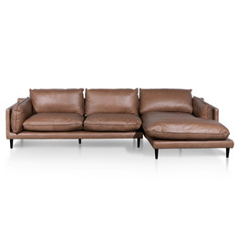 CLC6249-KSO  4 Seater Right Chaise Leather Sofa - Saddle Brown (cf)