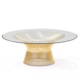 Warren Platner Coffee Table - Gold - Glass Top 80cm, 90cm, 100cm
