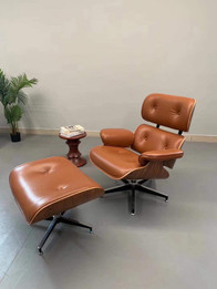 Replica Eames Lounge Chair + Ottoman - Tan Leather Walnut Frame